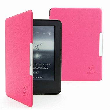 Capa Novo Kindle Touch Auto Liga Desliga Couro Premium Liso Pink