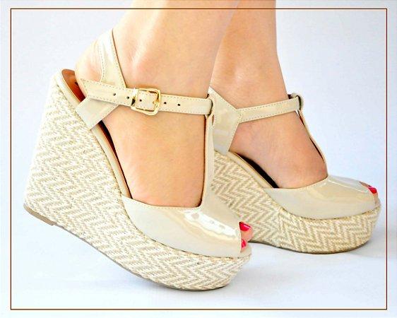 e9c5880a4b Sandália Anabela Rafia Bege - Anny Shoes
