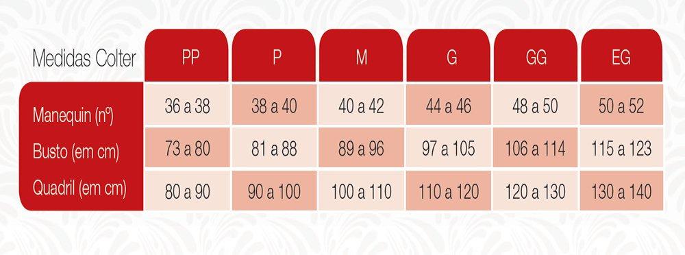 Tabela de Medidas Colter