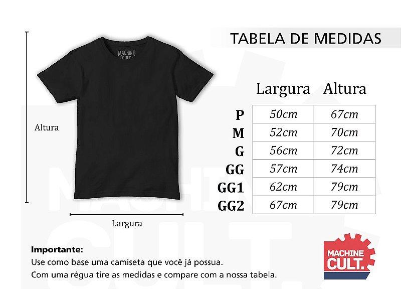 Medidas das Camisetas de Carro e Moto da Machine Cult