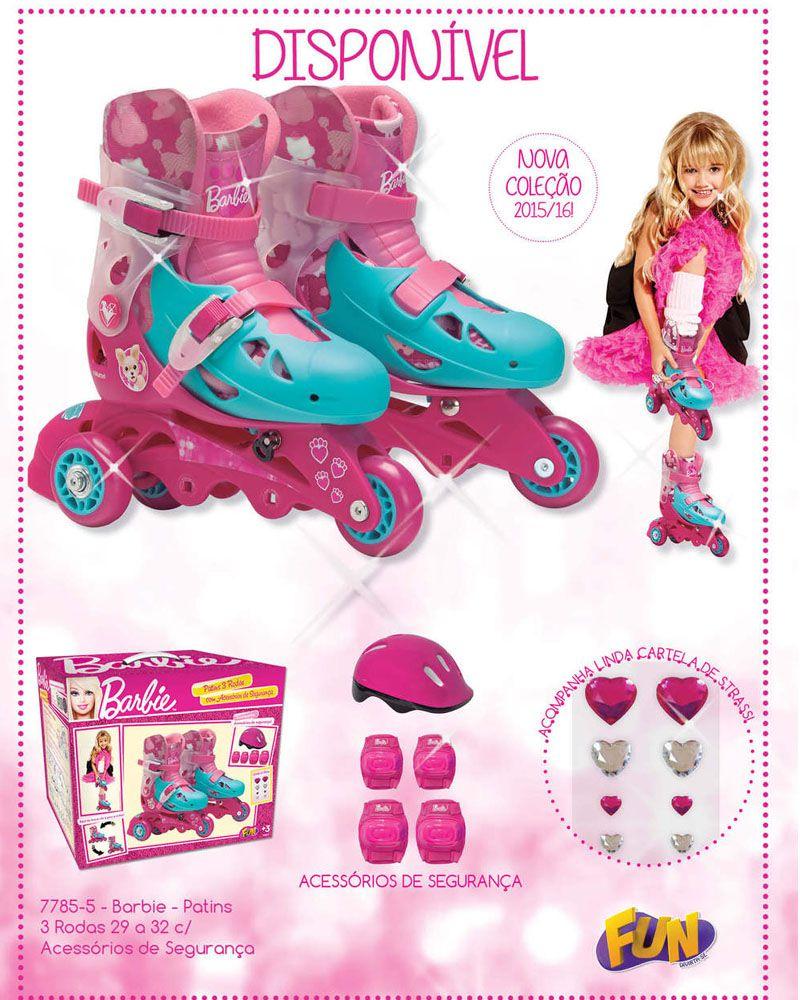 581eb3206 Patins Ajustável 3 Rodas Barbie Kit Segurança 29-32 7785-5 - Fun ...