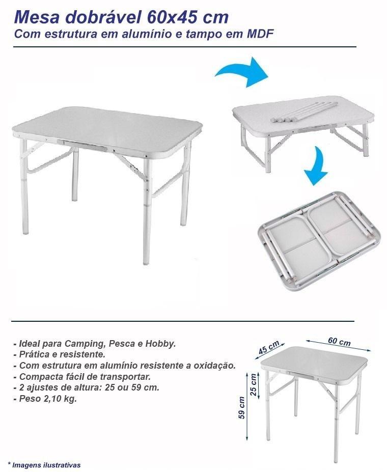 1b14ae5a3 Mesa Alumínio Dobrável Camping Tampo 60x45cm - Vira Maleta - Rei da ...