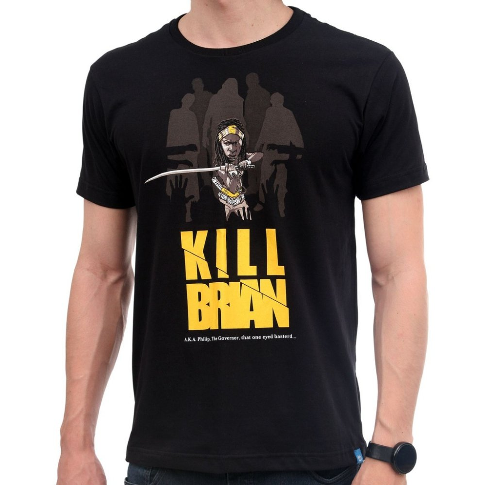 Camiseta Kill Brian - masculina, feminina, geek, nerd, The Walking Dead, TWD, Michonne, zumbi, zombie, seriado, série, filme, Kill Bill