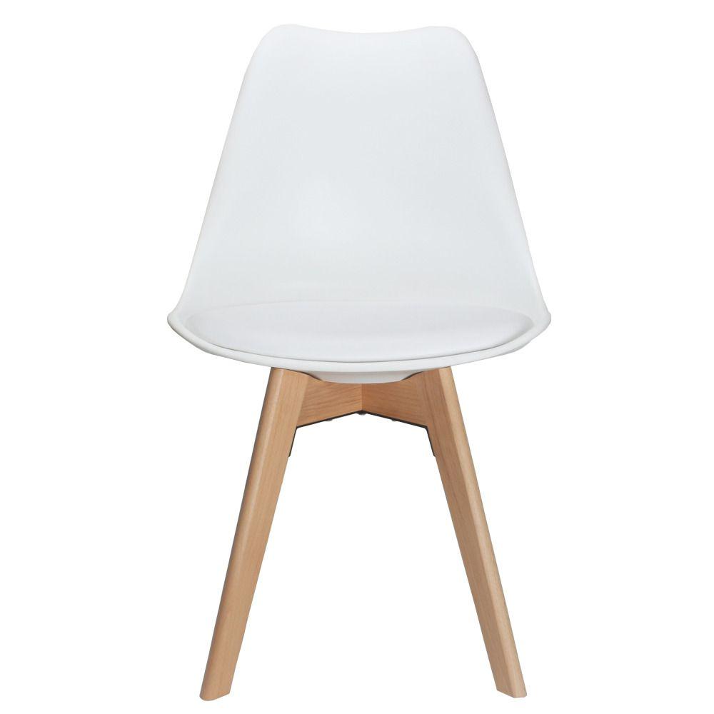 Cadeira Eames Leda Com Assento Estofado Base Madeira - PP