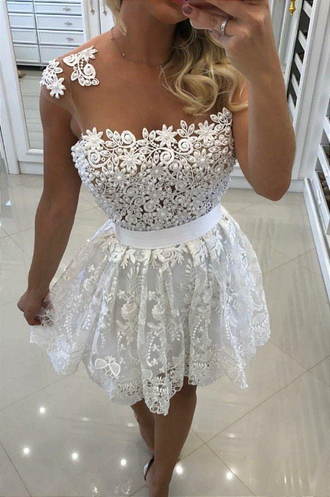 Vestido Branco Renda Tule E Pérolas K Dunvva5dw Livia