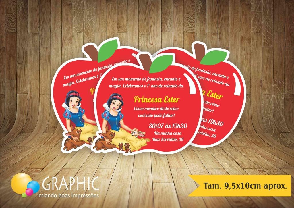 Convite Maça Branca De Neve Graphic Gráfica E Conviteria
