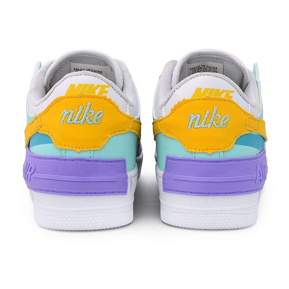 Nike Air Force Shadow Bege Lilás - No pé calçados