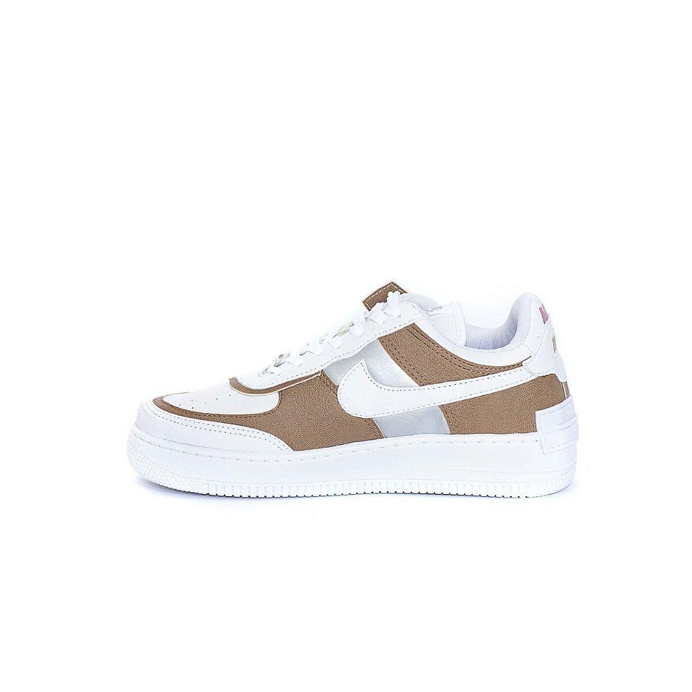 Nike Air Force Shadow Nude Branco - No pé calçados