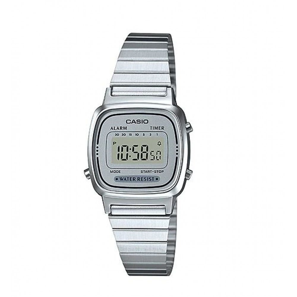 Relógio Feminino Casio Vintage LA-670WA-7 Prata - Mimports ... 9dccbc2363