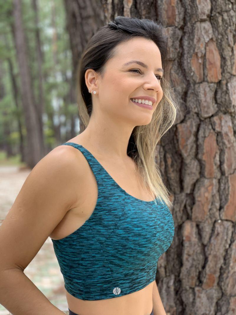 Top Run Alça Reta Verde Mesclado - Moda Fitness e Moda
