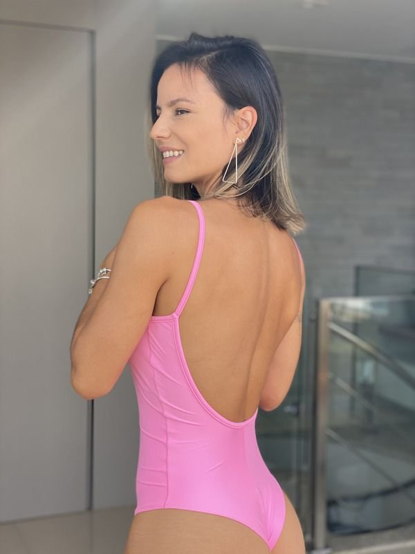 Body Decote U Light Rosa Chiclete - Moda Fitness e Moda