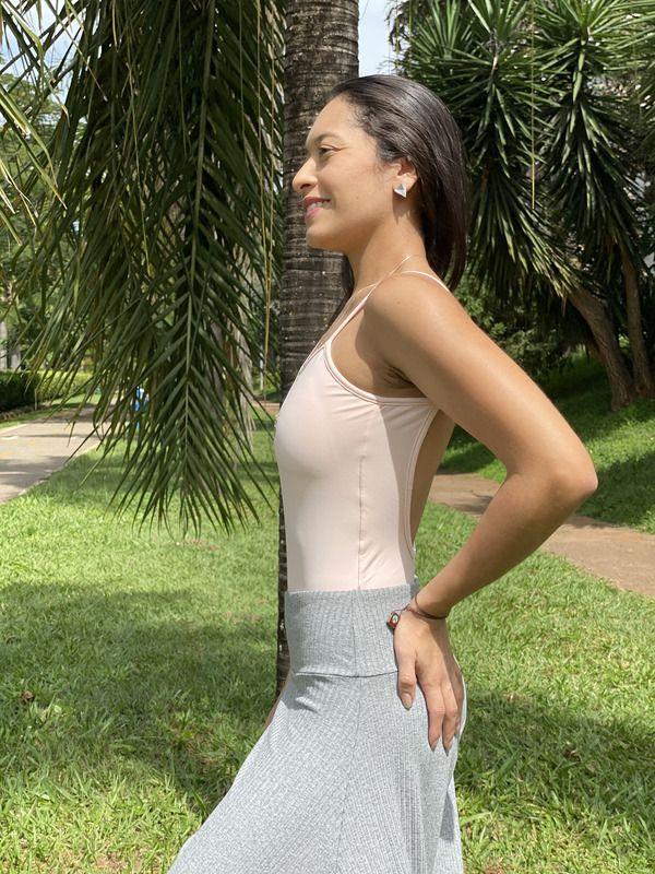 Body Decote U Light Rosa Ballet - Moda Fitness e Moda