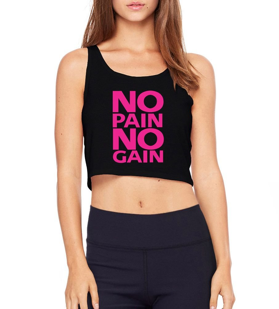 991d758ca6 Top Cropped Academia Fitness No Pain No Gain Preto- Modelos ...