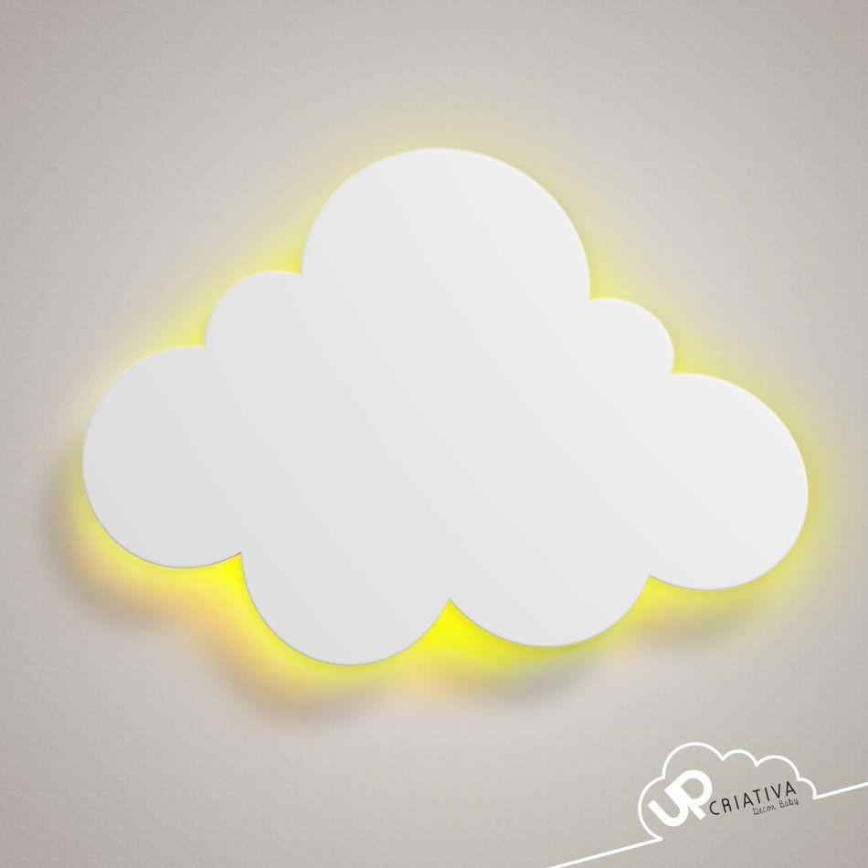 Luminária Nuvem Em Mdf Com Led Para Quarto De Bebê Painel Para
