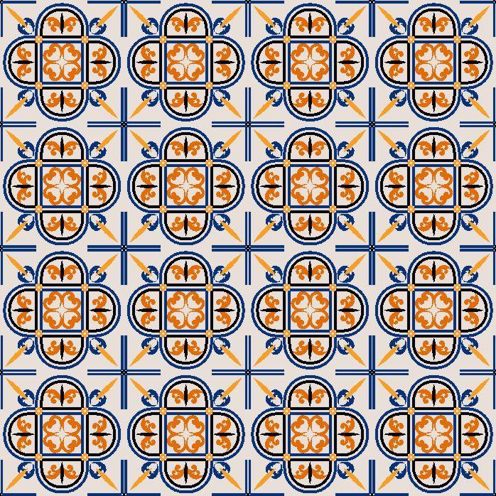 Adesivo-de-Azulejo-Hidraulico-Bege-Preto-Azul-e-Laranja