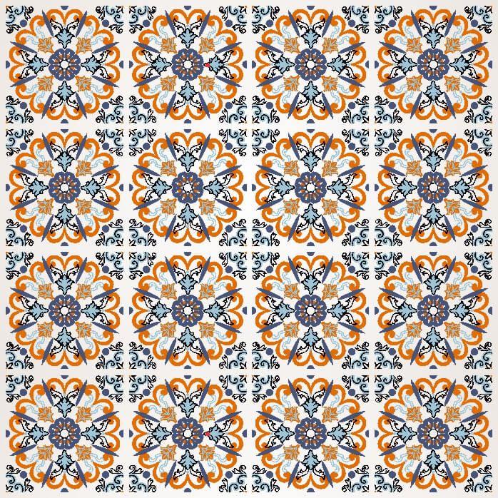 Papel-de-Parede-Azulejo-em-Tons-de-Laranja-e-Azul