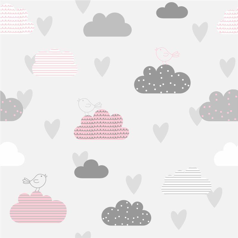 Papel de Parede Nuvens Cinza e Rosa com Passarinhos