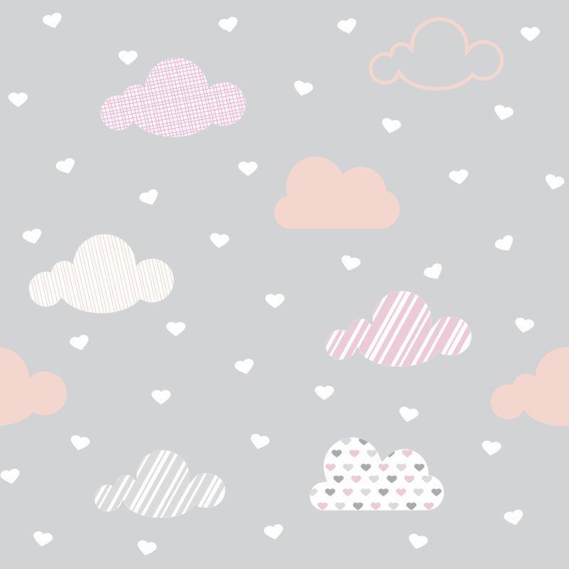 Papel-de-Parede-Infantil-Nuvens-com-Coracoes