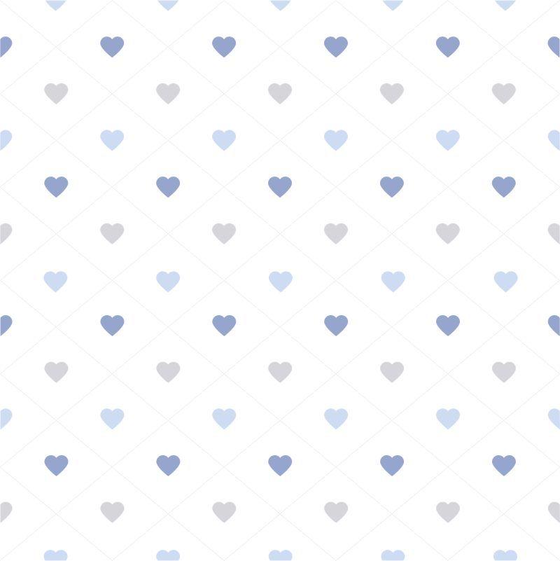Papel-de-Parede-Infantil-Coracoes-em-tons-de-Azul