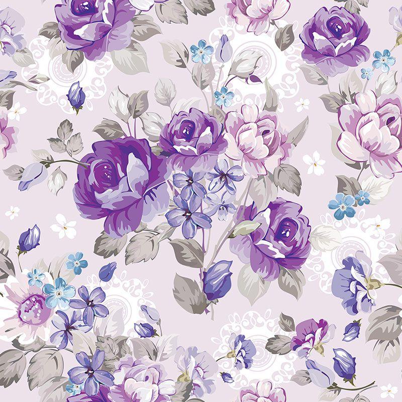 Papel-de-Parede-Floral-Roxo