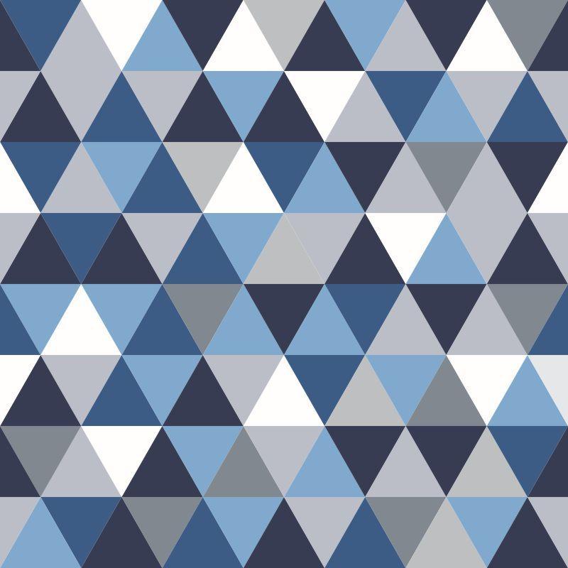 Papel-de-Parede-Geometrico-Triangulos-em-tons-de-Azul-e-Cinza