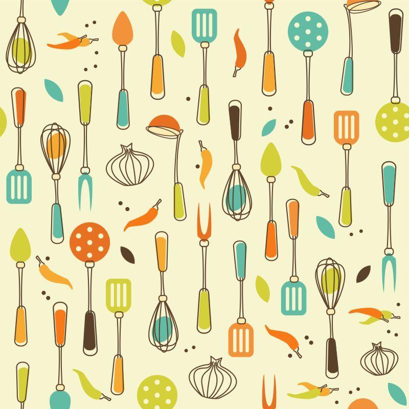 Papel-de-Parede-Cozinha-utensilios-Coloridos