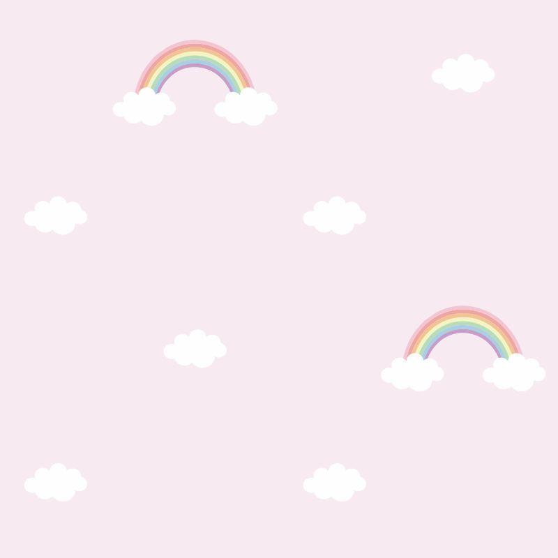 Papel-de-Parede-Baby-Arco-Iris-fundo-Rosa