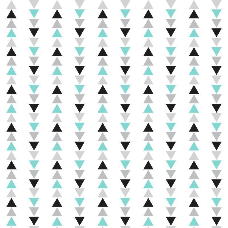 Papel de Parede Geométrico Triângulos Tiffany, Cinza e Preto
