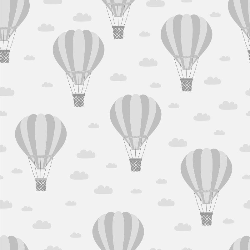 Papel de Parede Infantil Balões em Tons de Cinza
