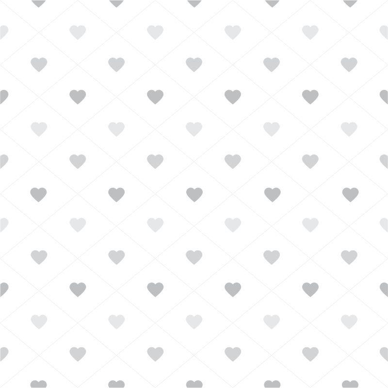 Papel de Parede Baby Corações Cinza