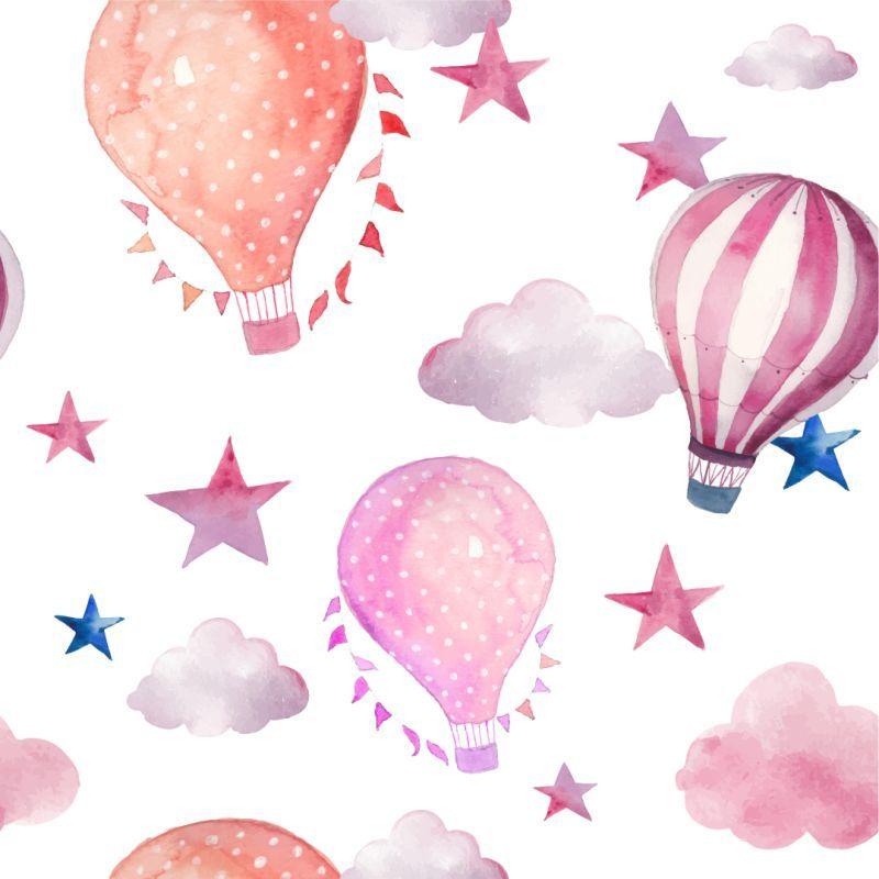Papel de Parede Baby Balões e Estrelas