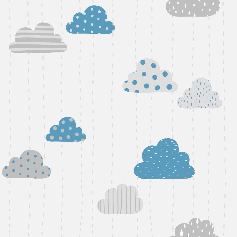 Papel de Parede Baby Nuvens Cute Cinza e Azul