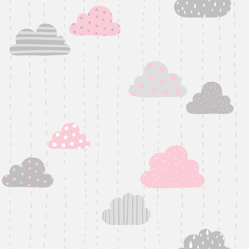 Papel de Parede Baby Nuvens Cute Cinza e Rosa