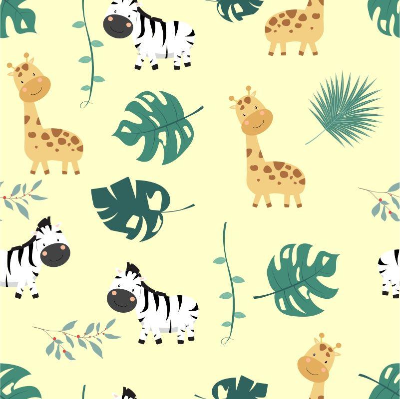 Papel de Parede Baby Girafa e Zebra Cute