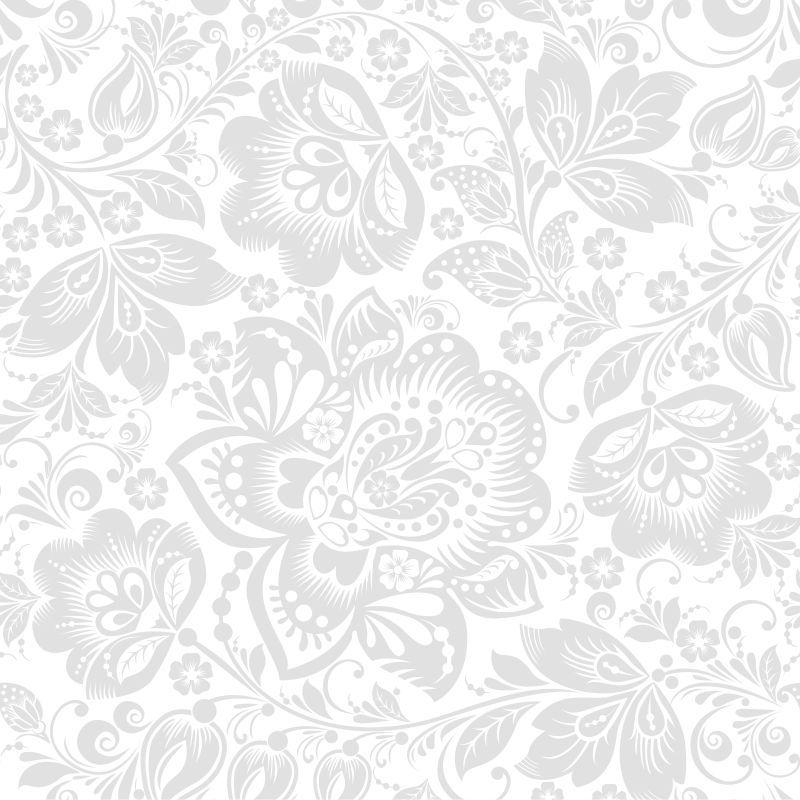 Papel de Parede Floral Branco e Cinza