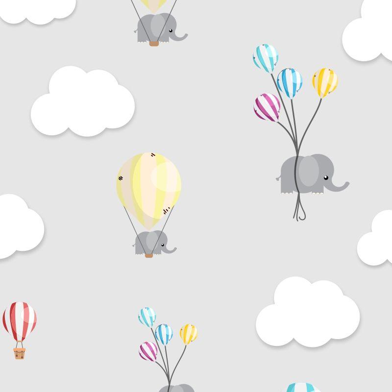 Papel de Parede Baby Elefante Balão Cute