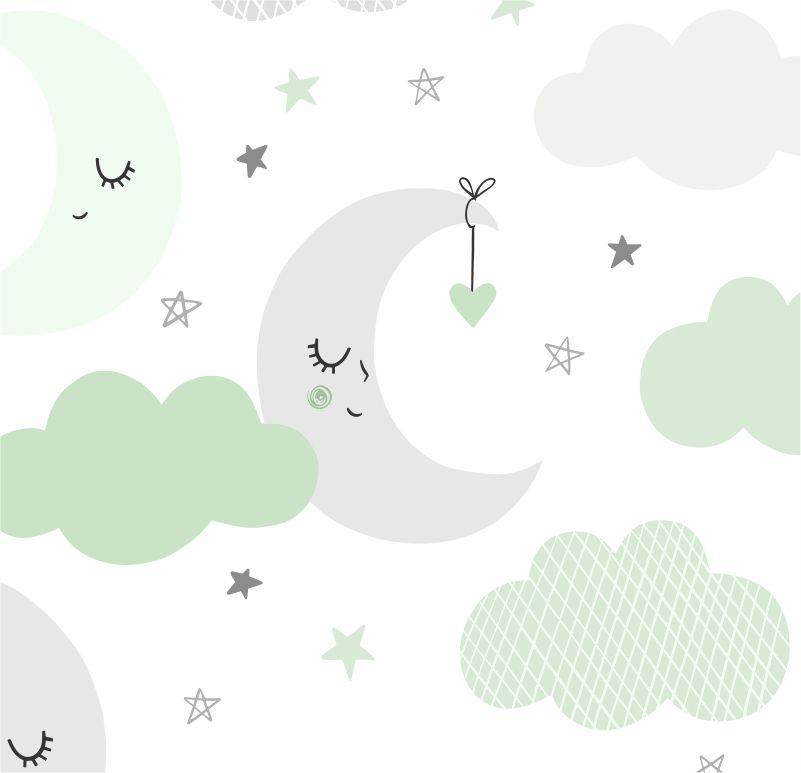 Papel de Parede Baby Nuvens e Lua Cinza e Verde