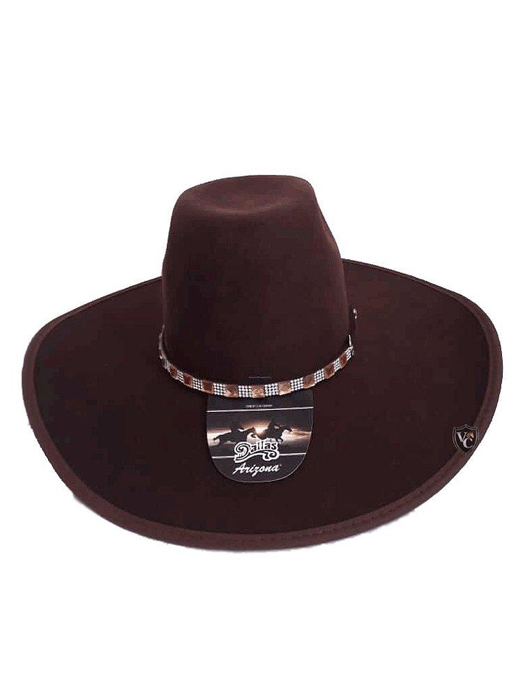 Chapéu Dallas Arizona Feltro Marrom Forrado 7500 - Vitrine do Cowboy ... 4b0ada10613