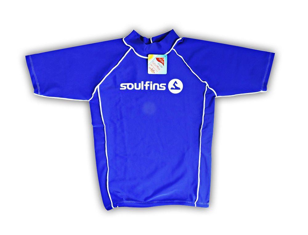 Camiseta de Lycra Soul Fins UV Protection 50+   Manga Curta Azul ... c4bdd06385b7b