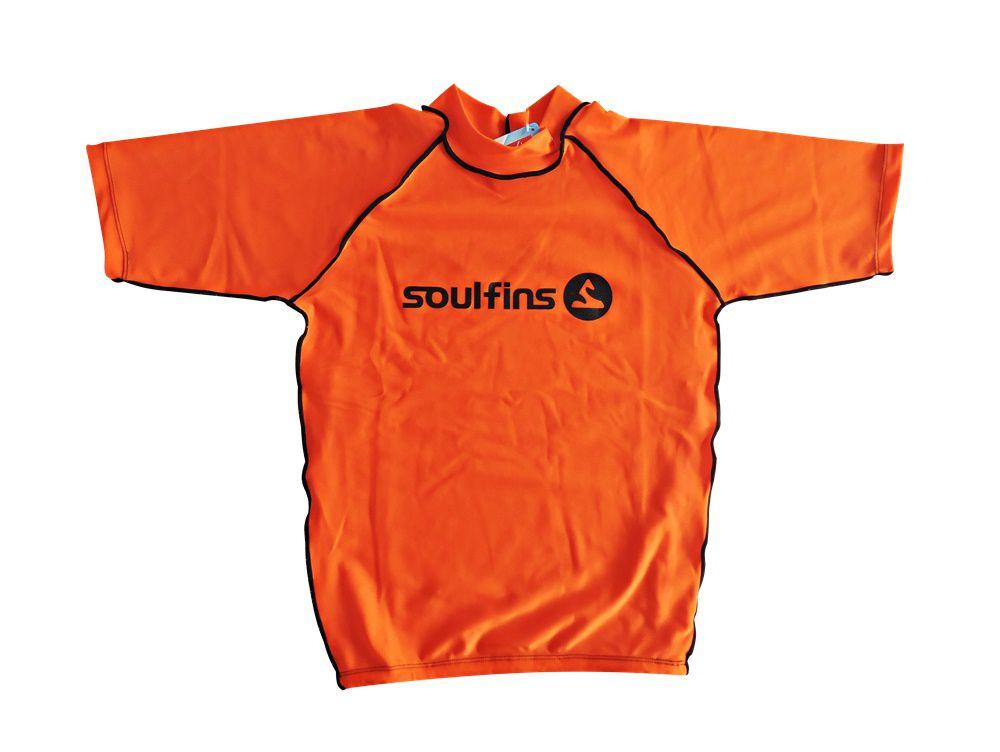 Camiseta de Lycra Soul Fins UV Protection 50+   Manga Curta Laranja.  Camiseta de Lycra Soul Fins ... 5e8dc1744d997