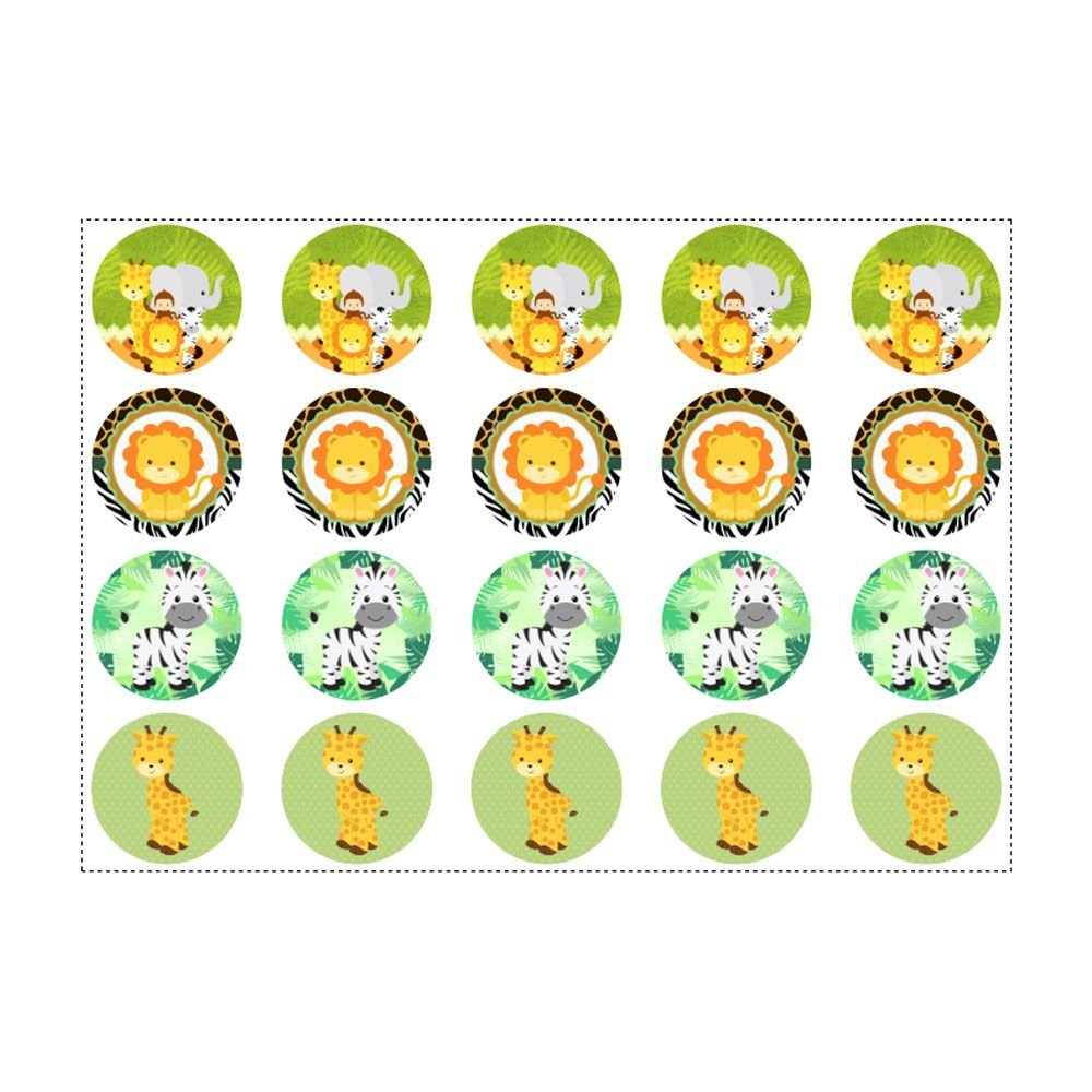 20 Adesivos Safari Para Lembrancinha Redondo 4 7cm Emporio Das