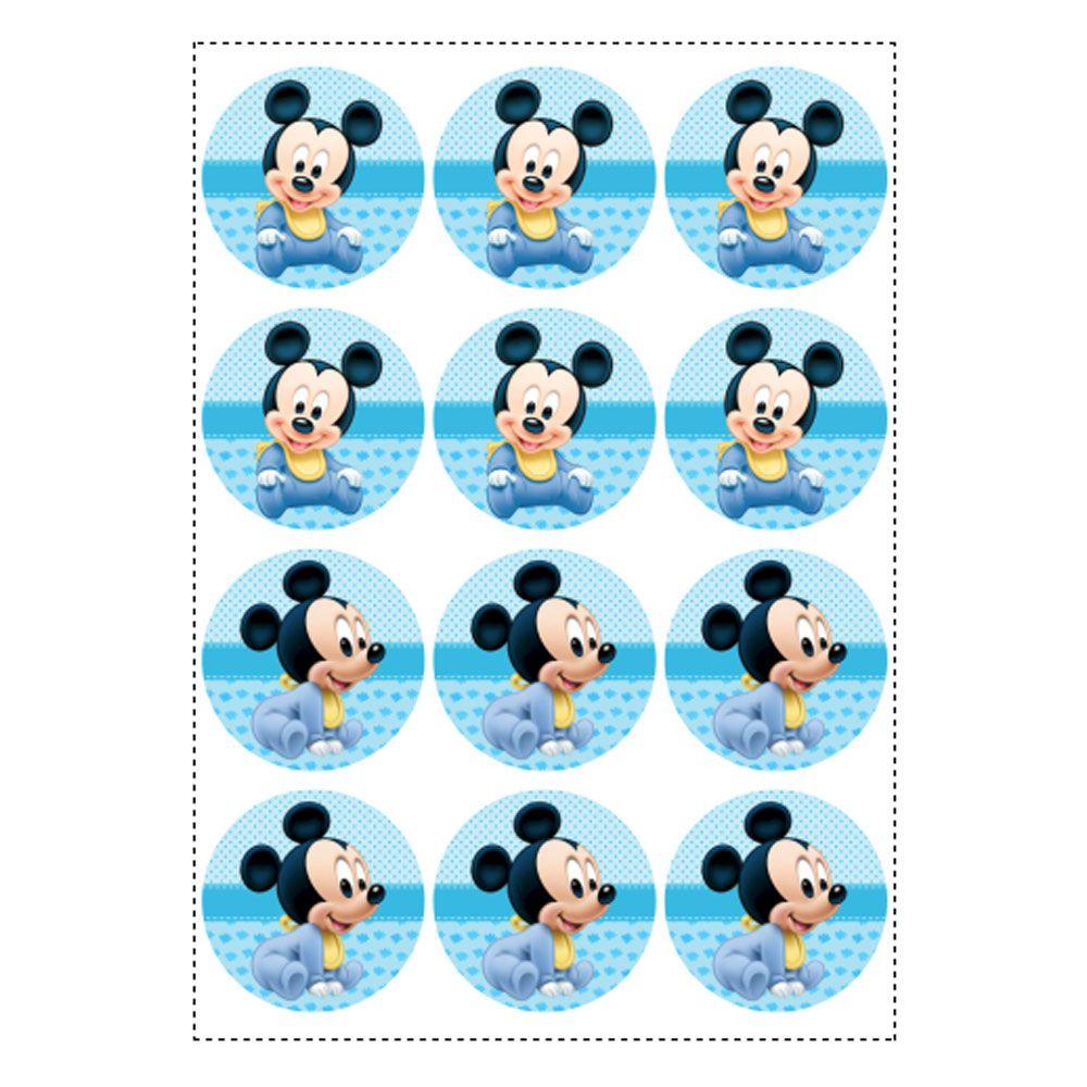 6 Adesivos Mickey Baby Retangular 20x10cm Emporio Das