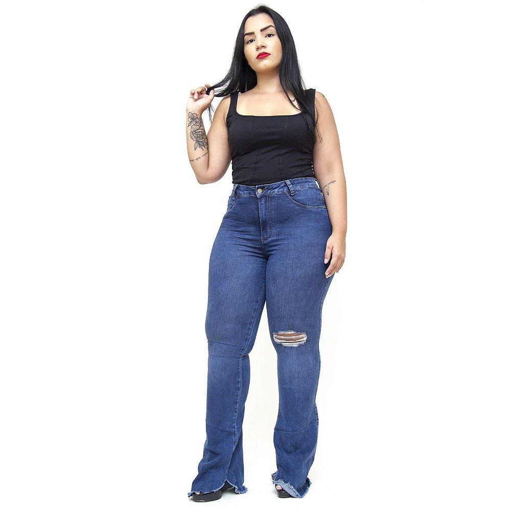 cf06541b7d2007 Calça Jeans Feminina Cambos Plus Size Flare Juciele Azul - Andando ...