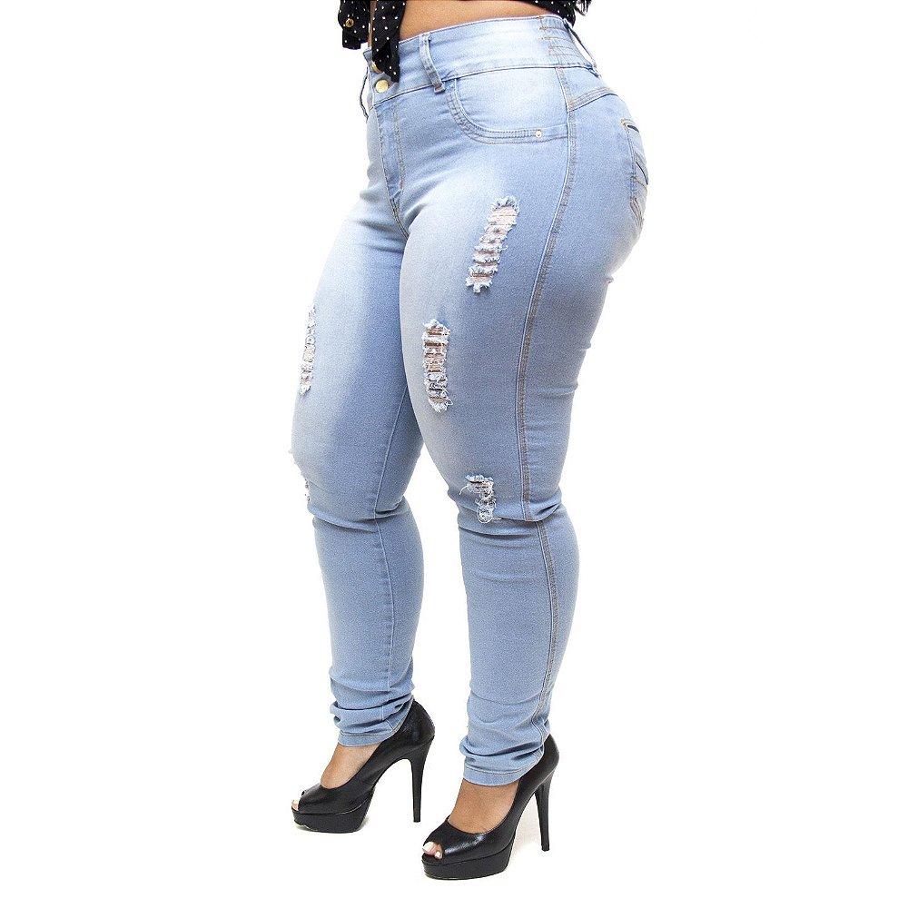 8a59a18763471f Calça Jeans Feminina Latitude Plus Size com Elástico Alina Azul ...