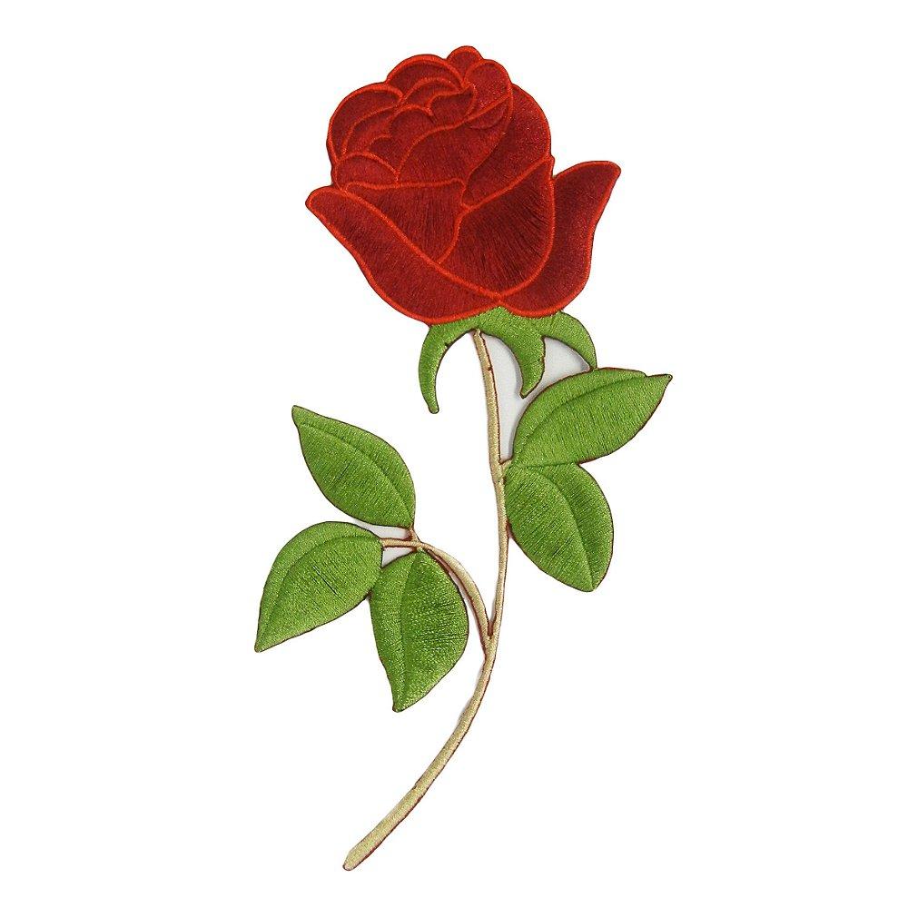 Patch Rosa Vermelha Grande Com Caule Papel Picado Papelaria