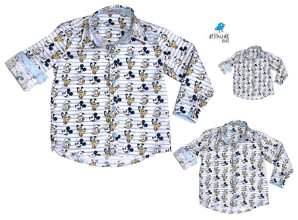 e5d06be33c27 Kit camisa Mickey - Família (três peças)   Manga Longa   Pato Donald Pluto.  Código: 7PWMD5256. Kit camisa Mickey - Família ...