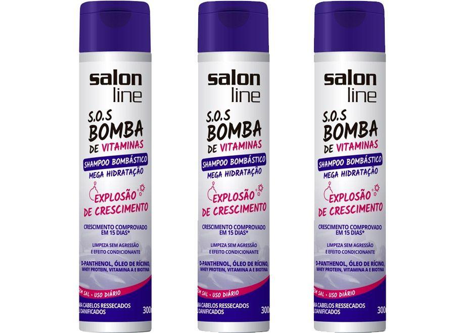 Kit 3 unidades shampoo bomb stico mega hidrata o 300 ml for Salon line bomba