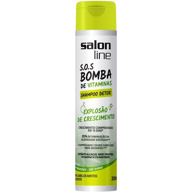 Shampoo s o s bomba detox salon line 300ml mulher rainha for Salon line bomba