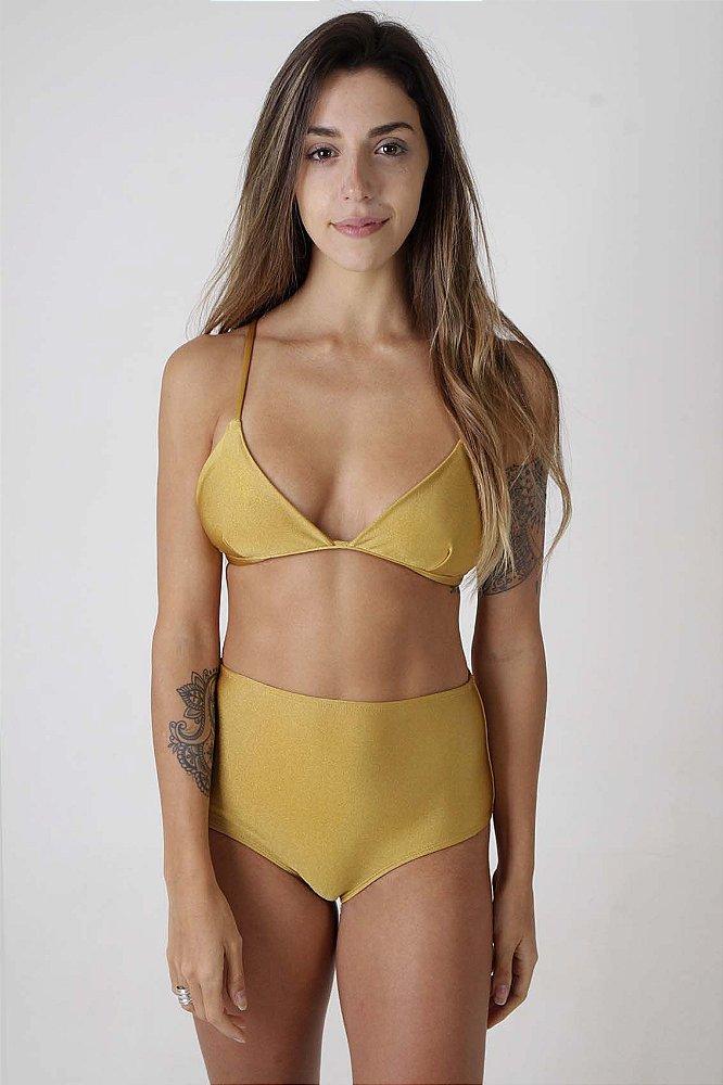 3c4b42451ba6 Top Fixo Bells e Hot Pants Canggu - Liso Dourado - Mohit Swimwear