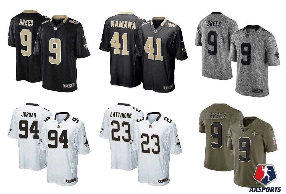 c2035f12582fe Camisa New Orleans Saints - 9 Brees - 41 Kamara - 23 Lattimore -13 ...